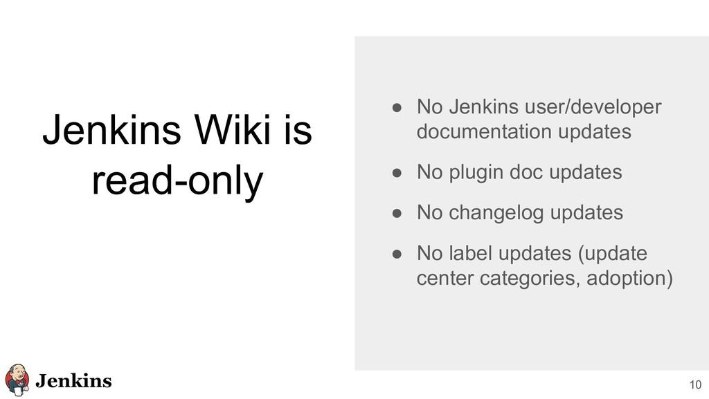 10 Jenkins Wiki is read-only ● No Jenkins user/...