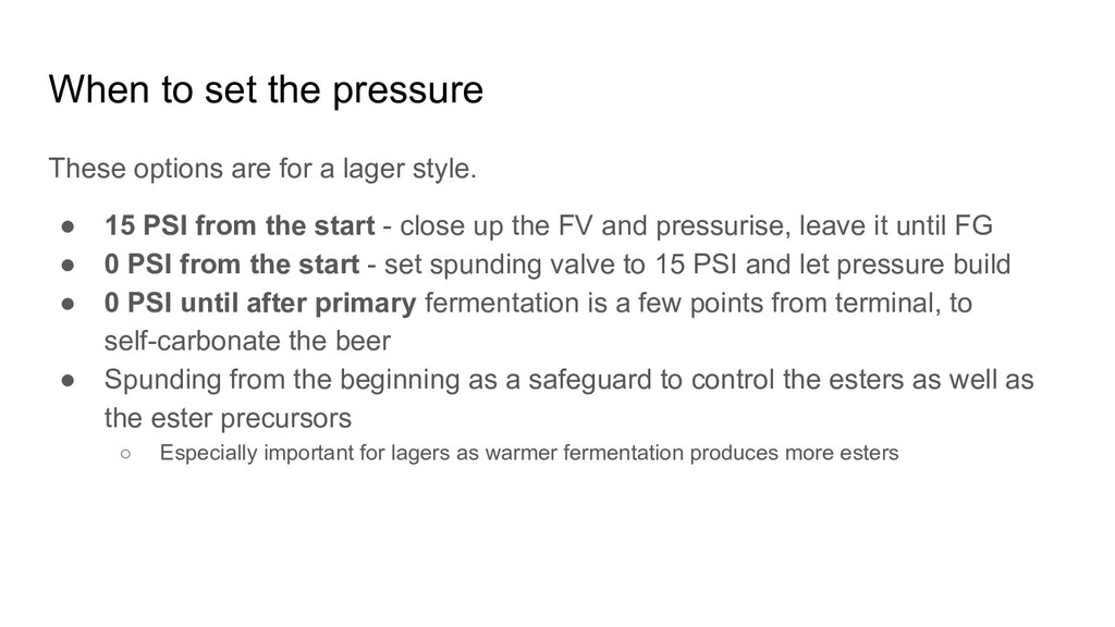 When to set the pressure These options are for ...