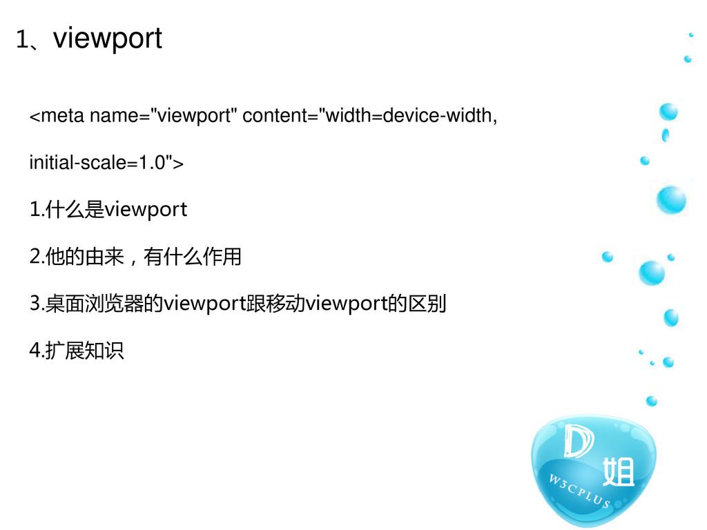 """1、viewport <meta name=""""viewport"""" content=""""width..."""