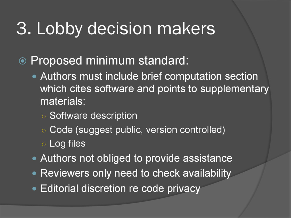 3. Lobby decision makers ž  Proposed minimum s...