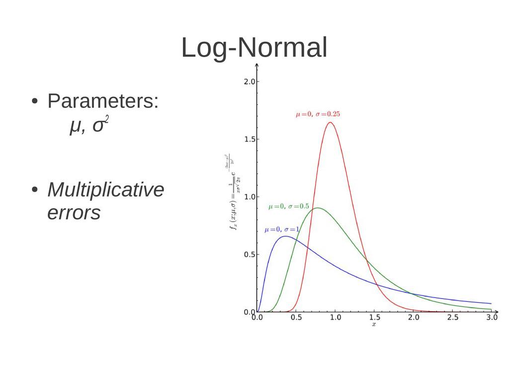 Log-Normal ● Parameters: μ, σ2 ● Multiplicative...