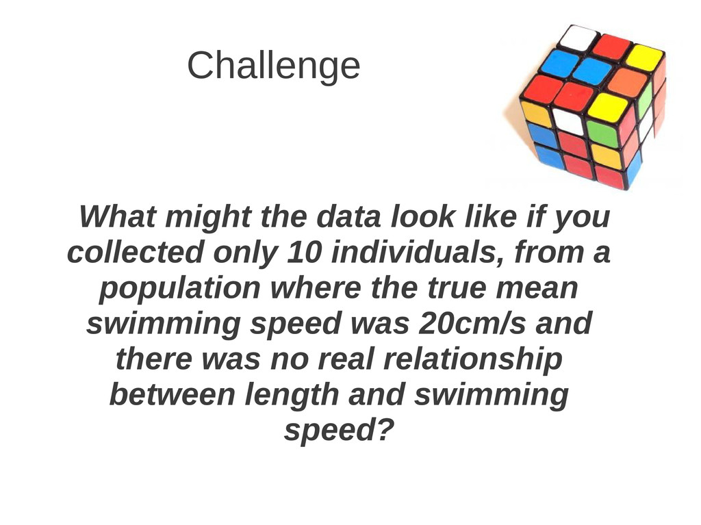 Challenge What might the data look like if you ...