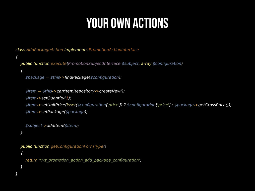 YOUR OWN ACTIONS class AddPackageAction impleme...