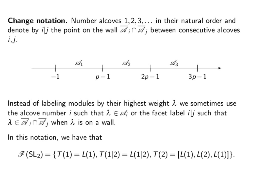 Change notation. Number alcoves 1,2,3,... in th...