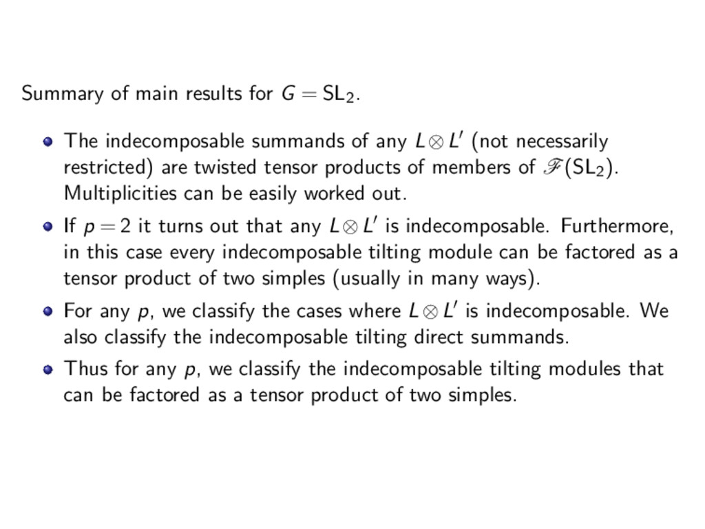 Summary of main results for G = SL2. The indeco...