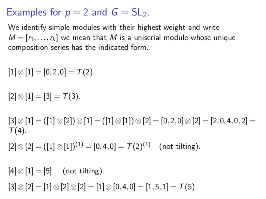 Examples for p = 2 and G = SL2. We identify sim...