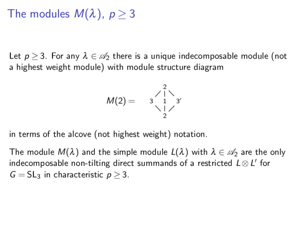 The modules M(λ), p ≥ 3 Let p ≥ 3. For any λ ∈ ...