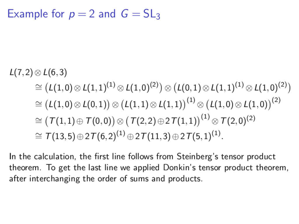 Example for p = 2 and G = SL3 L(7,2)⊗L(6,3) ∼ =...