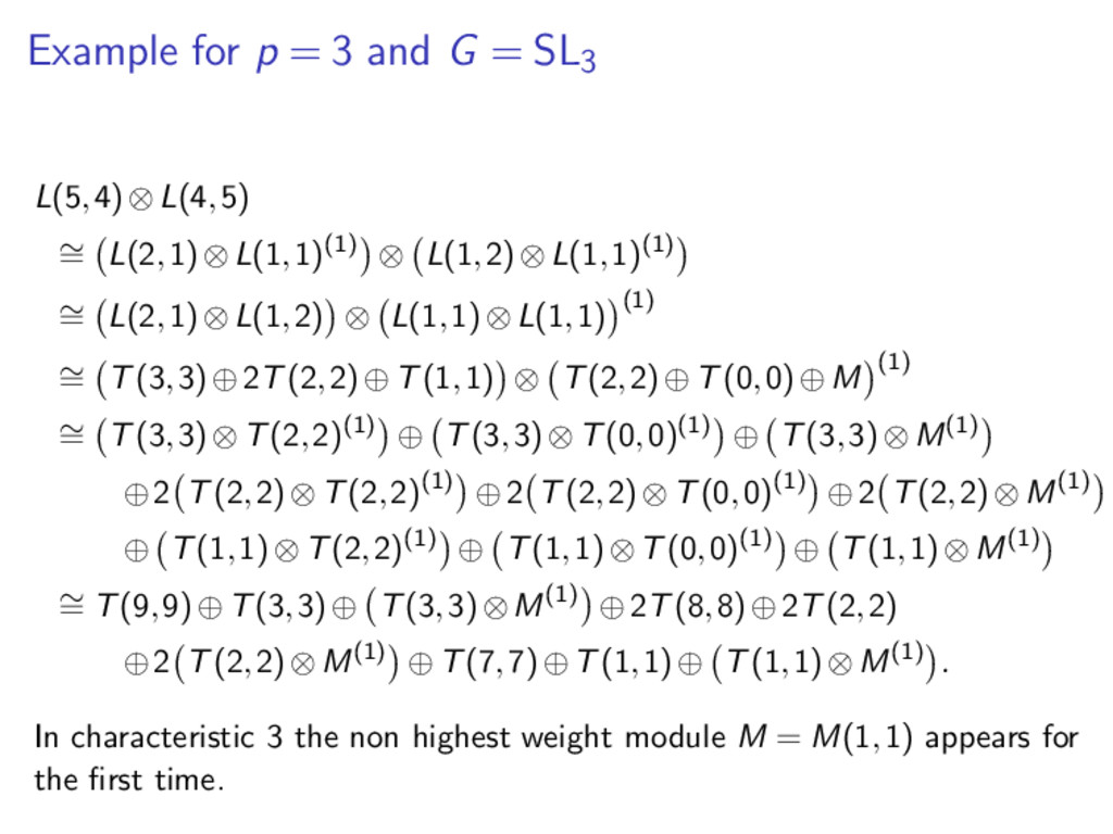 Example for p = 3 and G = SL3 L(5,4)⊗L(4,5) ∼ =...