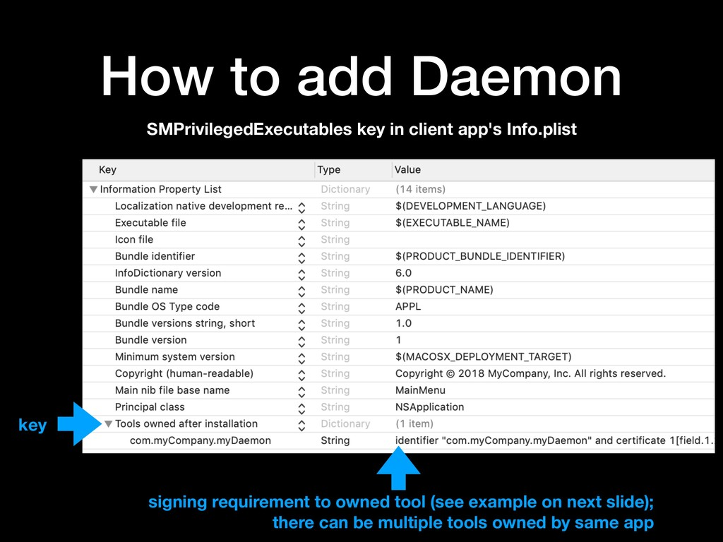 How to add Daemon SMPrivilegedExecutables key i...