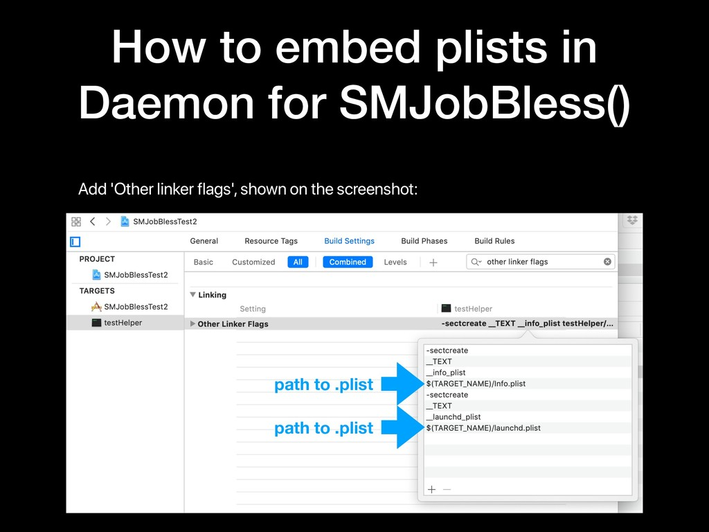 How to embed plists in Daemon for SMJobBless() ...