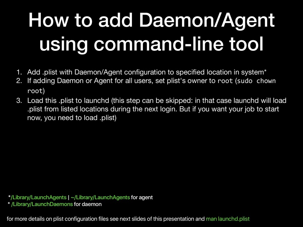How to add Daemon/Agent using command-line tool...