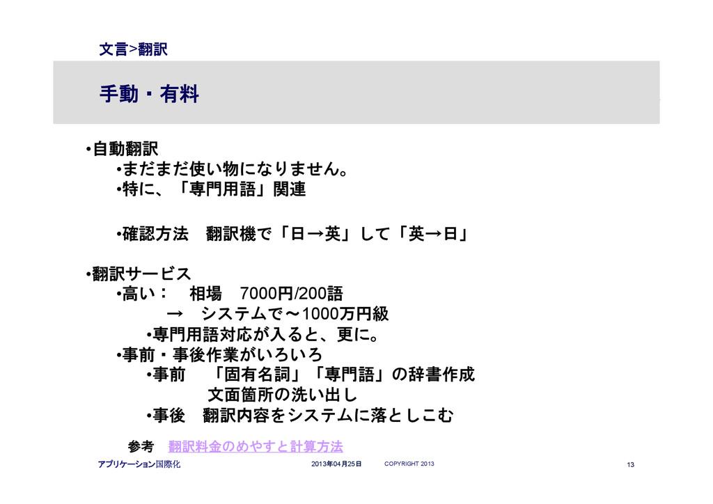 COPYRIGHT 2013 13 2013年04月25日 アプリケーション国際化 文言>翻訳...