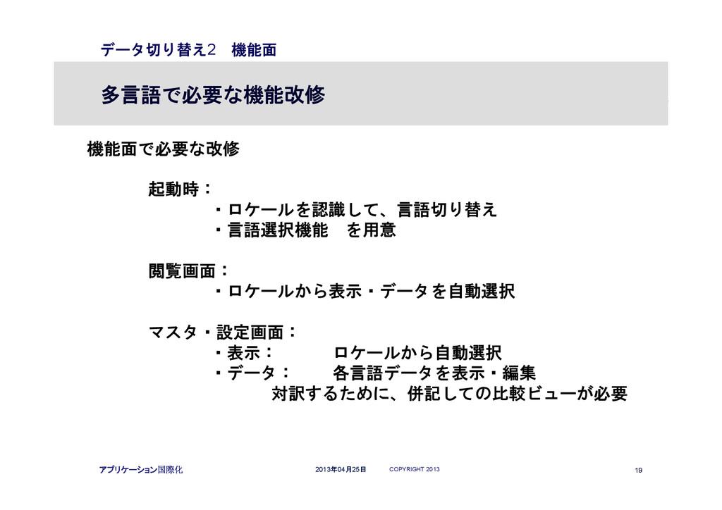 COPYRIGHT 2013 19 2013年04月25日 アプリケーション国際化 データ切り...