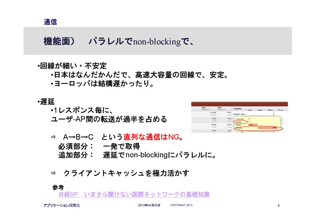 COPYRIGHT 2013 9 2013年04月25日 アプリケーション国際化 通信 機能面...