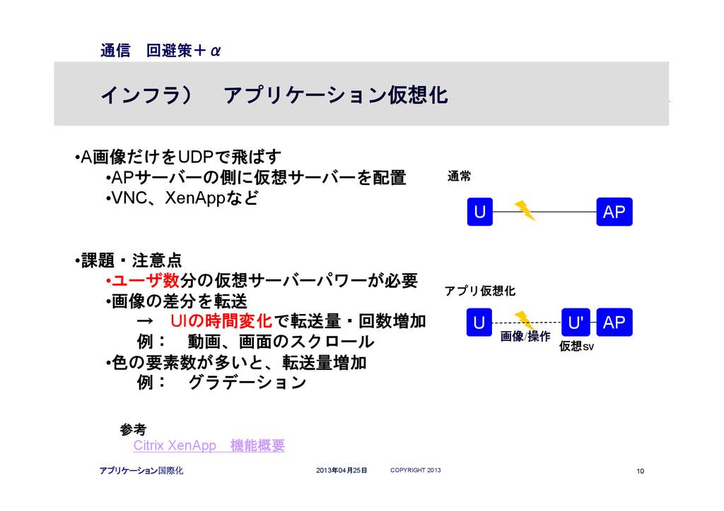 COPYRIGHT 2013 10 2013年04月25日 アプリケーション国際化 通信 回避...