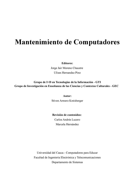 Mantenimiento de Computadores Editores: Jorge J...