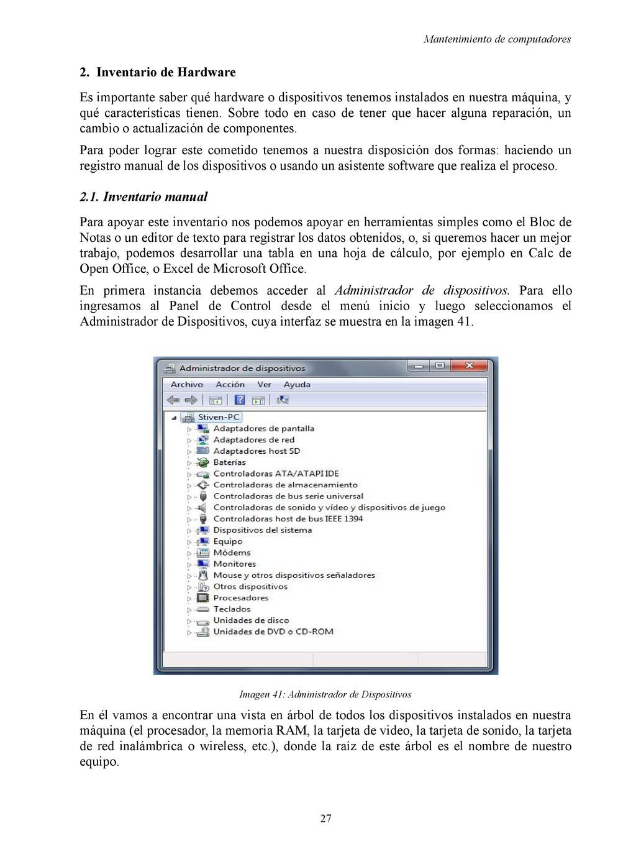 Mantenimiento de computadores 2. Inventario de ...