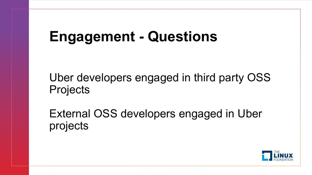 Engagement - Questions Uber developers engaged ...