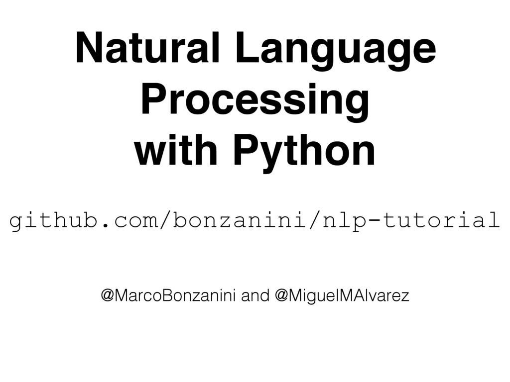Natural Language Processing with Python @Marco...