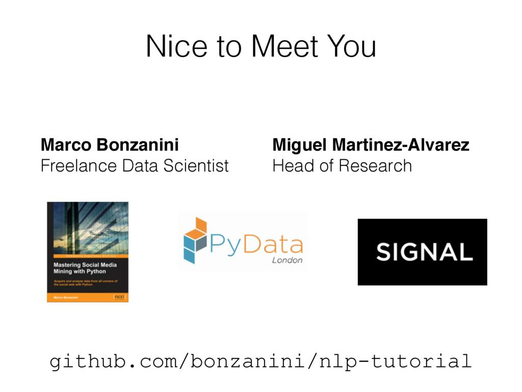 Nice to Meet You Marco Bonzanini Freelance Dat...
