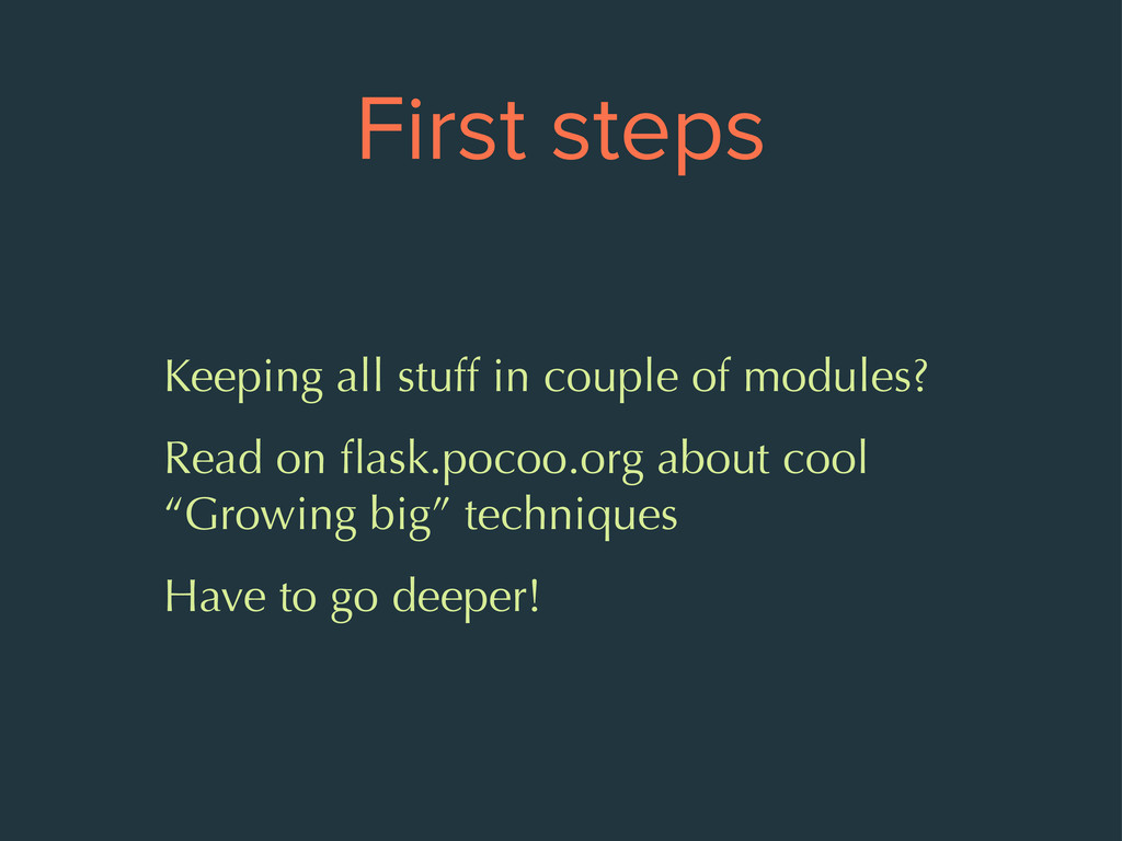 First steps Keeping all stuff in couple of modu...