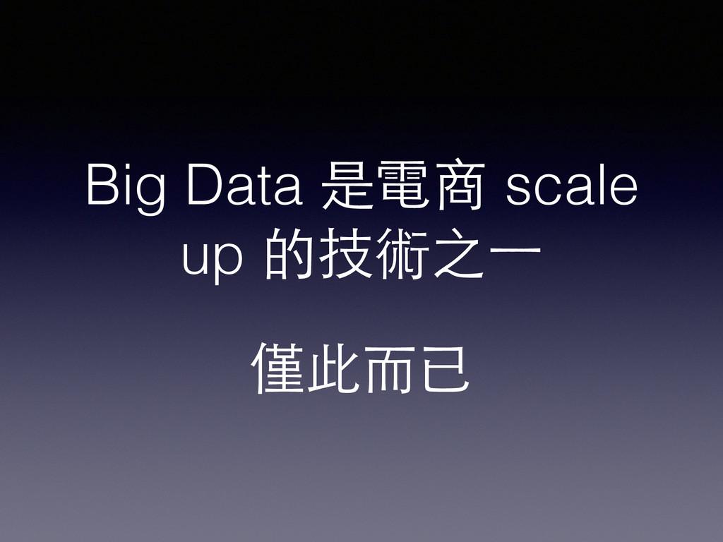 Big Data 是電商 scale up 的技術之⼀一 僅此⽽而已