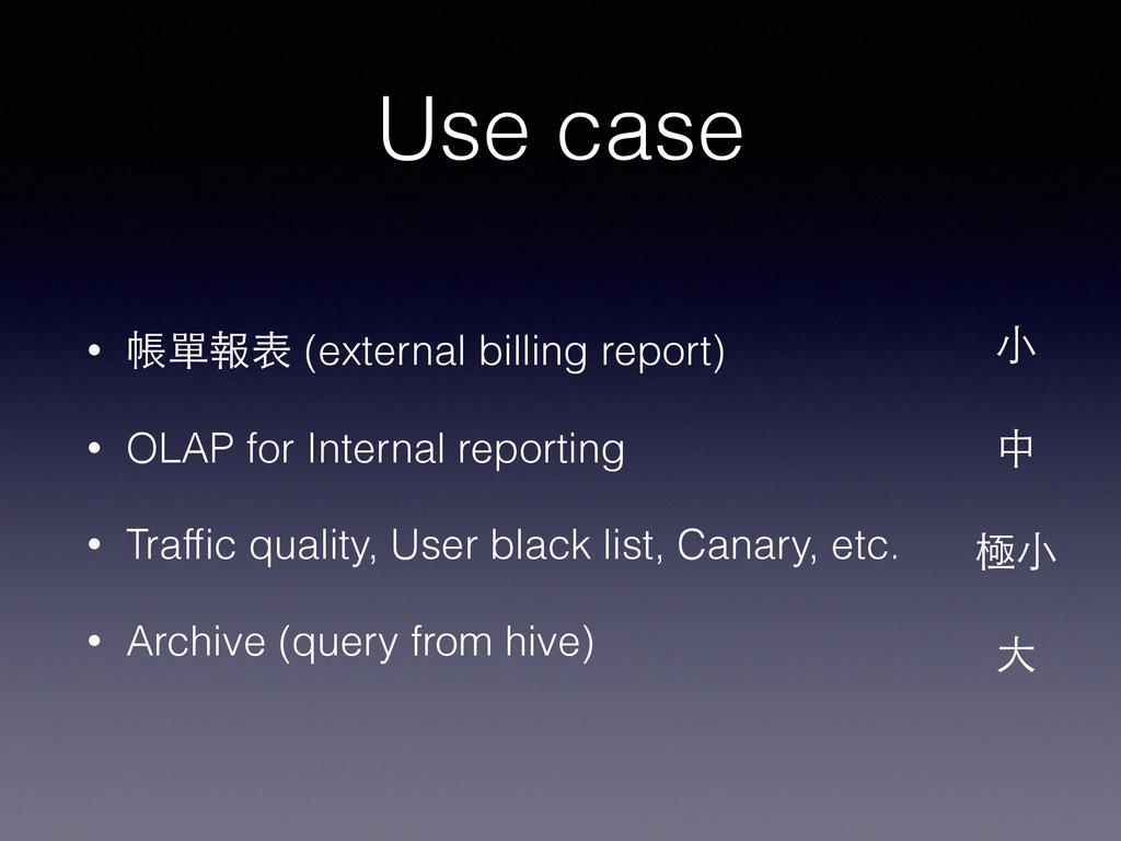 Use case • 帳單報表 (external billing report) • OLA...