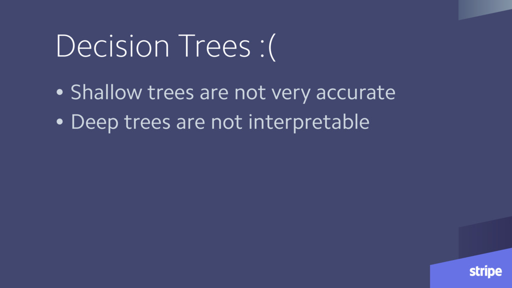 Decision Trees :( • Shallow trees are not very ...