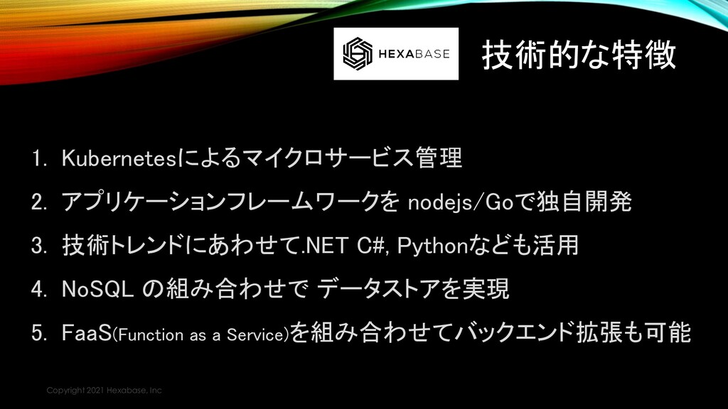 技術的な特徴 Copyright 2021 Hexabase, Inc 1. Kubernet...