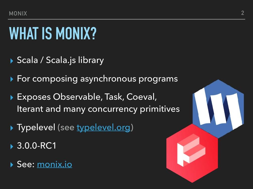 MONIX WHAT IS MONIX? ▸ Scala / Scala.js library...