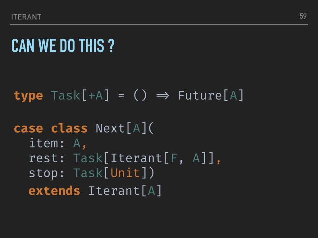 "ITERANT type Task[+A] = () ""=> Future[A] case c..."