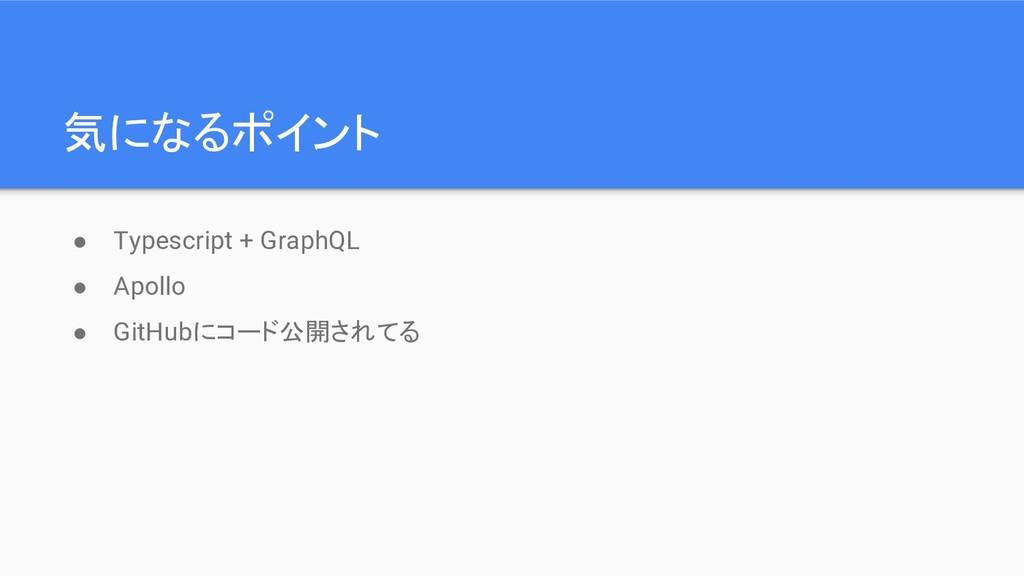 気になるポイント ● Typescript + GraphQL ● Apollo ● GitH...