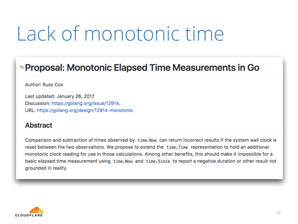 Lack of monotonic time 50