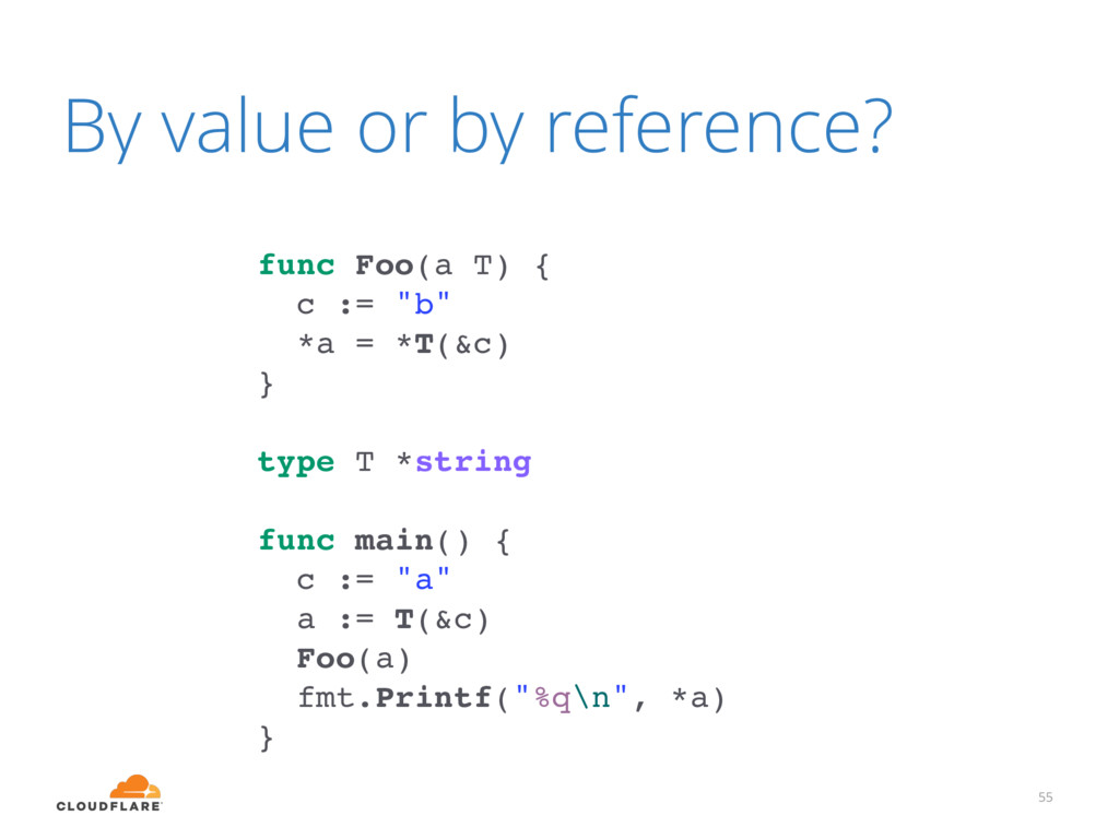 By value or by reference? 55 func Foo(a T) { c ...
