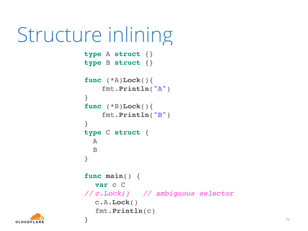 Structure inlining 76 type A struct {} type B s...