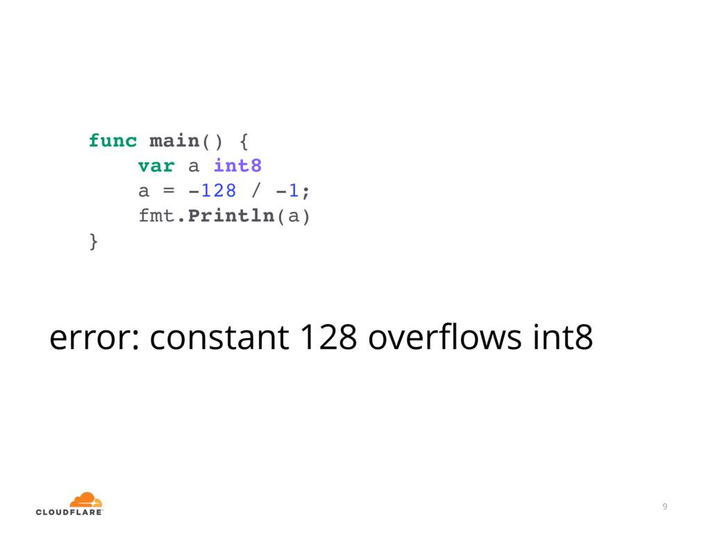 9 func main() { var a int8 a = -128 / -1; fmt.P...
