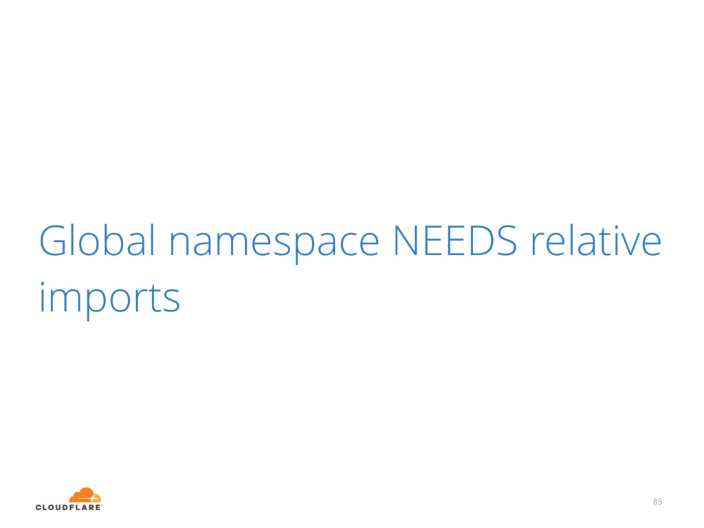 Global namespace NEEDS relative imports 85