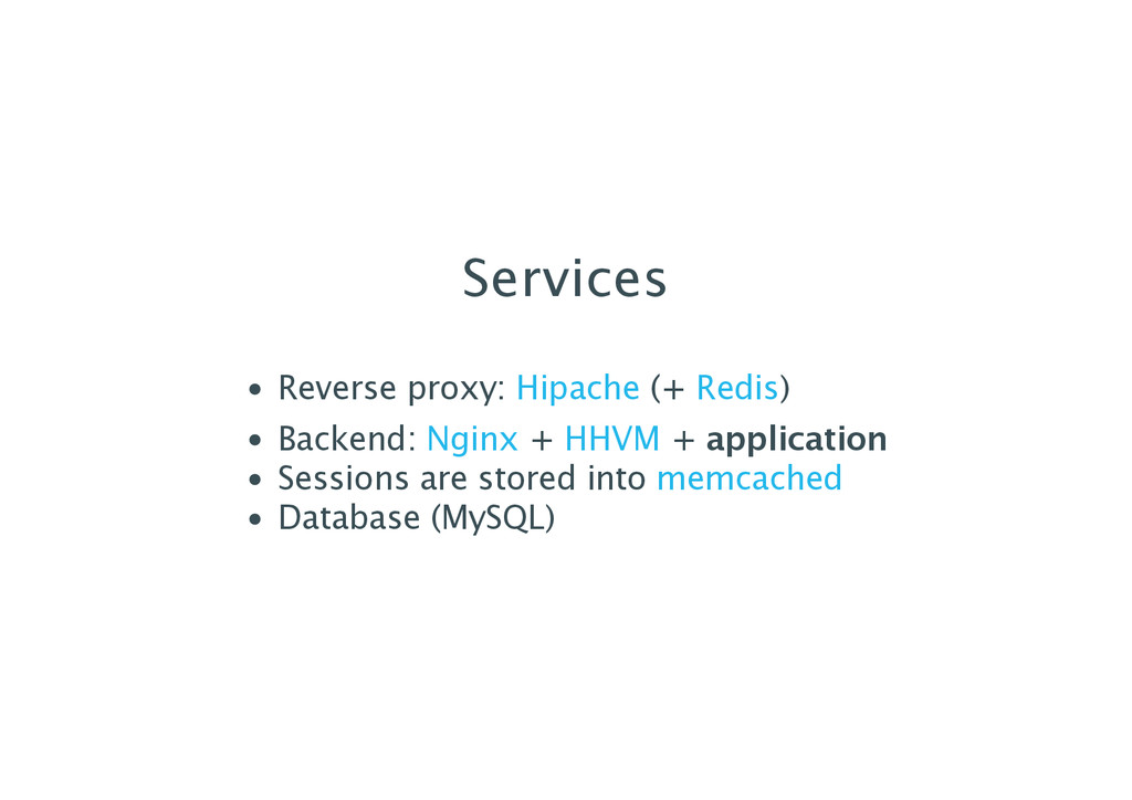 Services Reverse proxy: (+ ) Backend: + + appli...