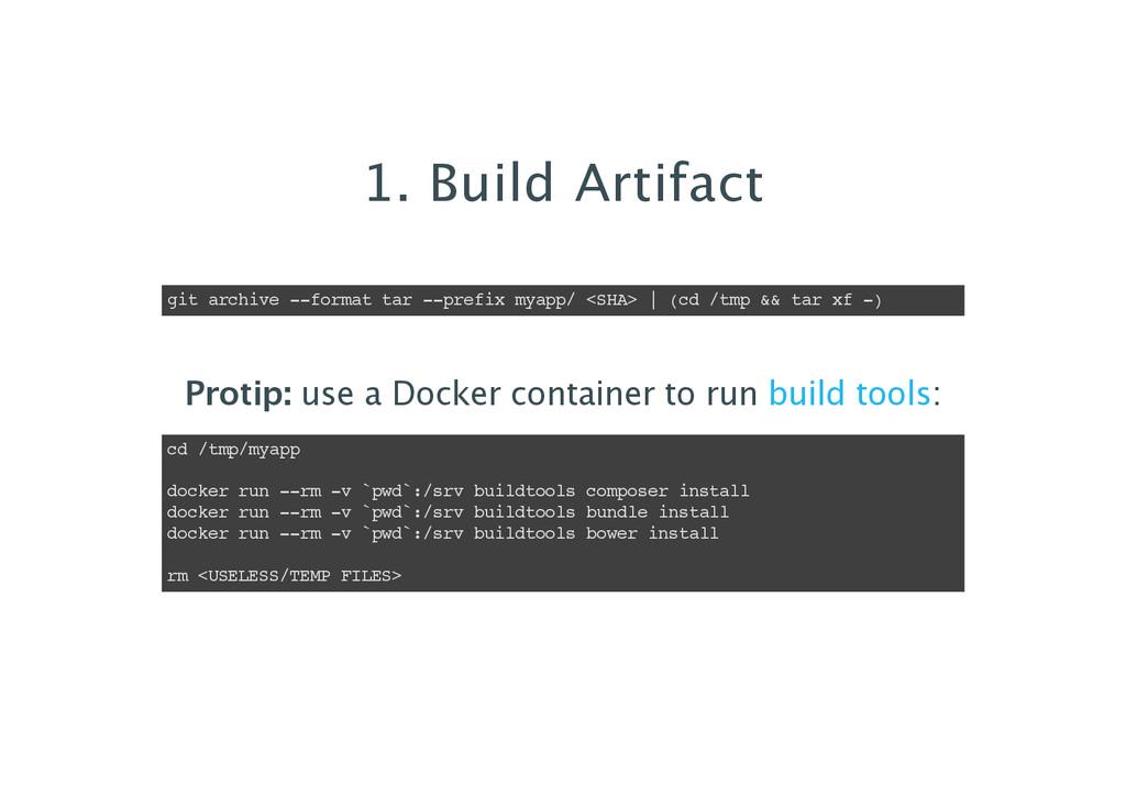 1. Build Artifact git archive --format tar --pr...