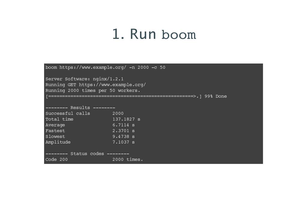 1. Run boom boom https://www.example.org/ -n 20...