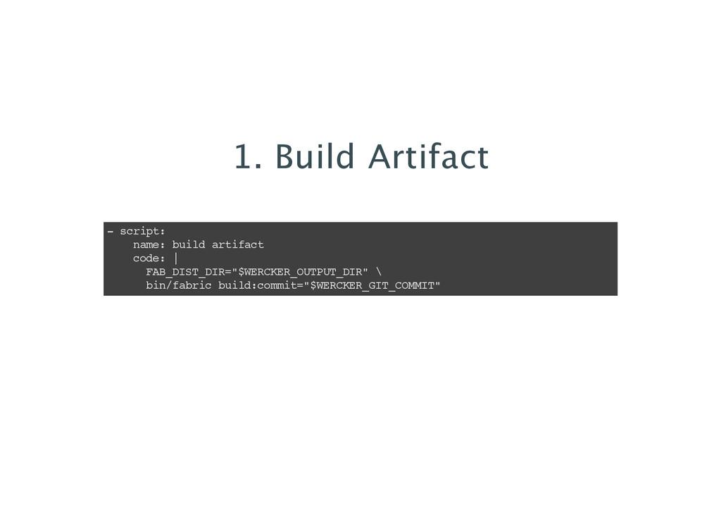 1. Build Artifact - script: name: build artifac...