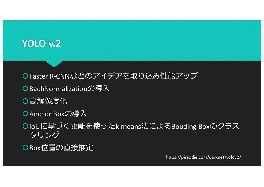 YOLO v.2 šFaster R-CNNなどのアイデアを取り込み性能アップ šBachNo...