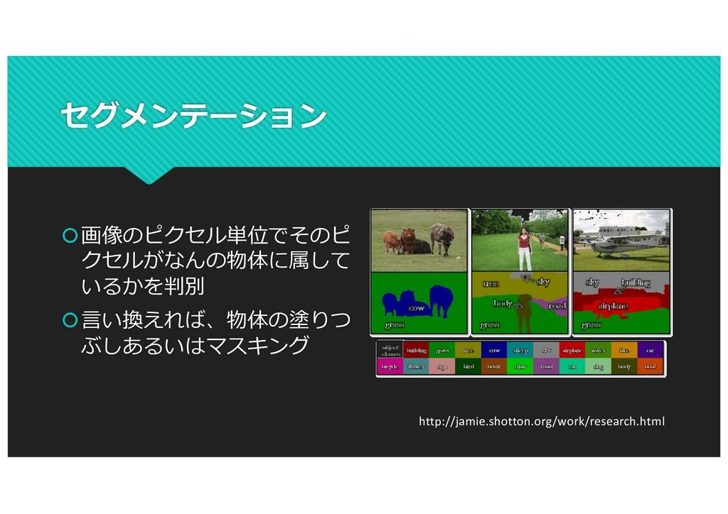 セグメンテーション š画像のピクセル単位でそのピ クセルがなんの物体に属して いるかを判別 š...
