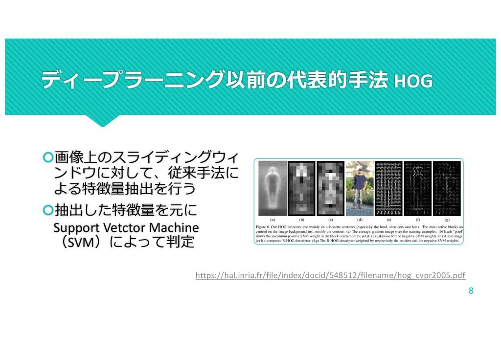 ディープラーニング以前の代表的⼿法 HOG š画像上のスライディングウィ ンドウに対して、従来...