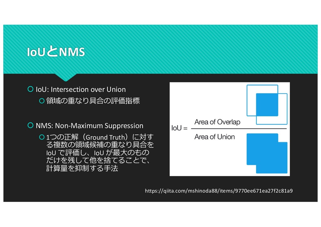 IoUとNMS š IoU: Intersection over Union š領域の重なり具...
