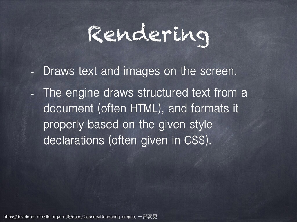 Rendering - Draws text and images on the screen...
