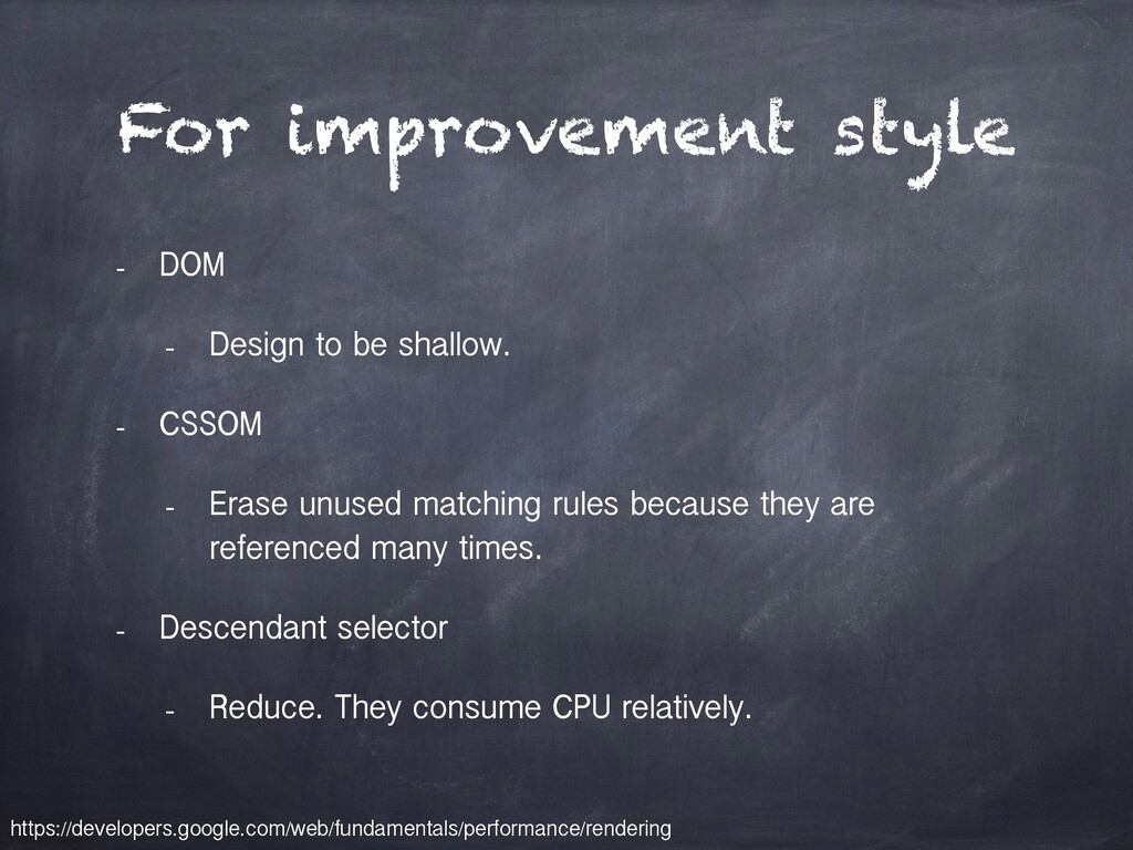 For improvement style - DOM - Design to be shal...