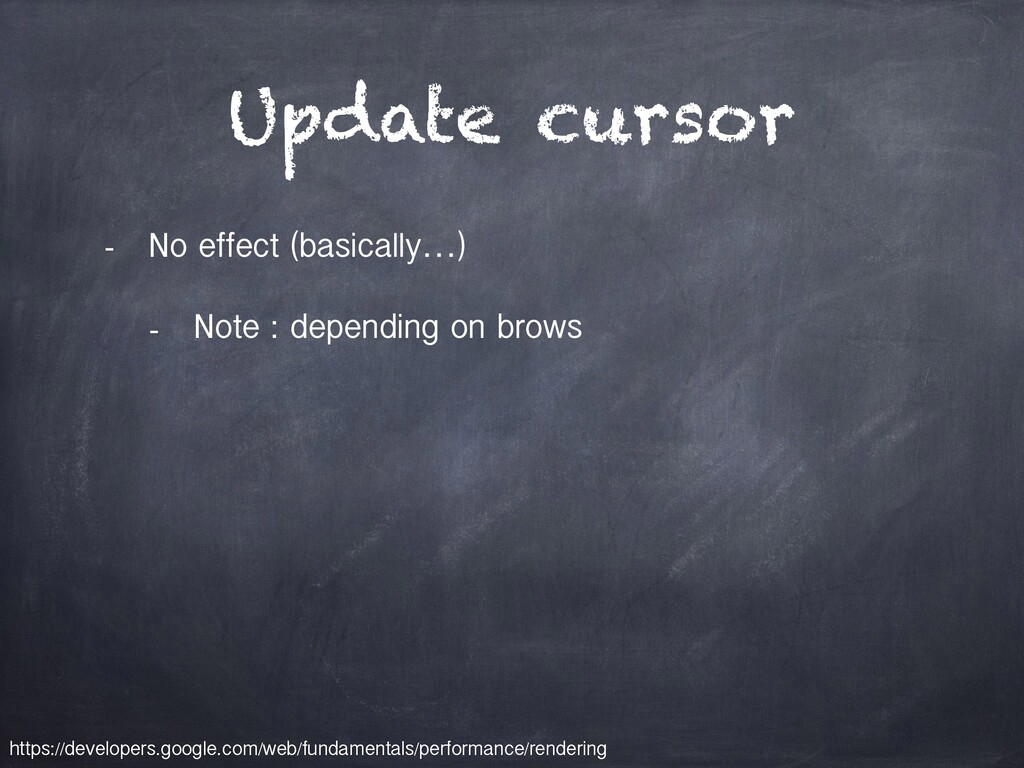 Update cursor - No effect (basically…) - Note :...