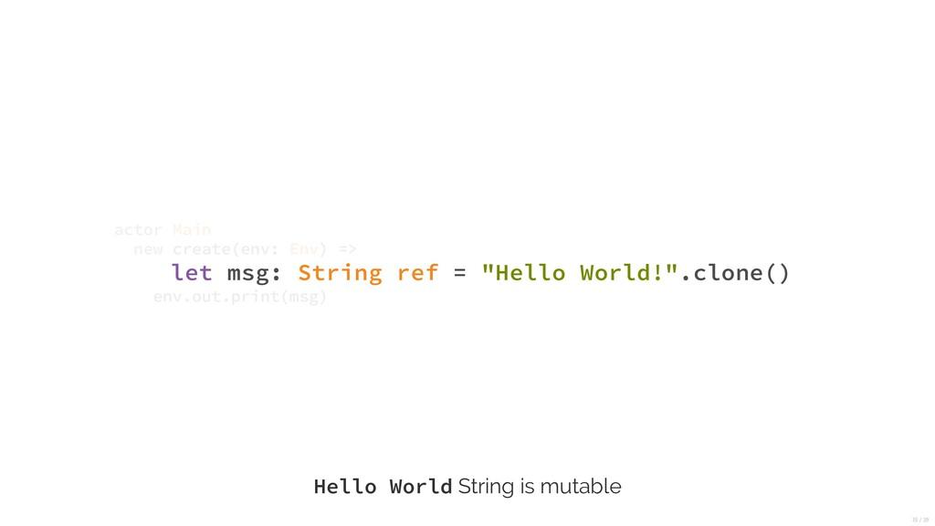 "let msg: String ref = ""Hello World!"".clone() ac..."